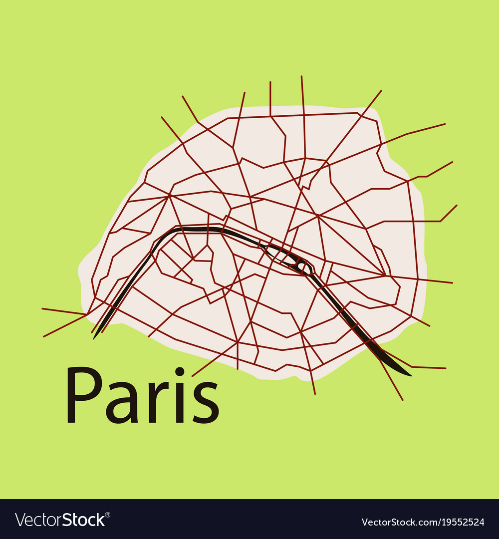 Flat Urban City Map Of Paris France Royalty Free Vector