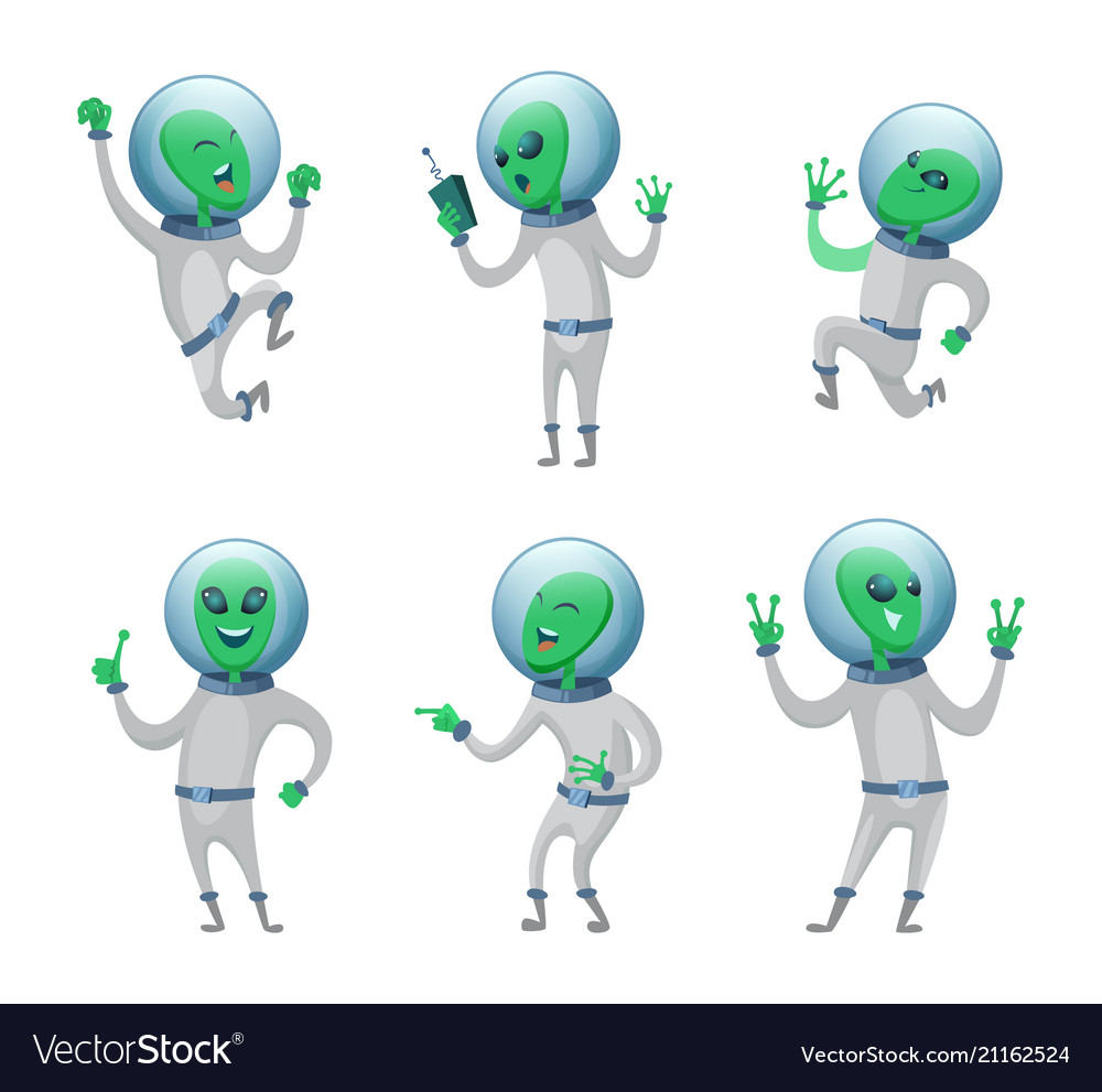 Funny aliens standing in various poses