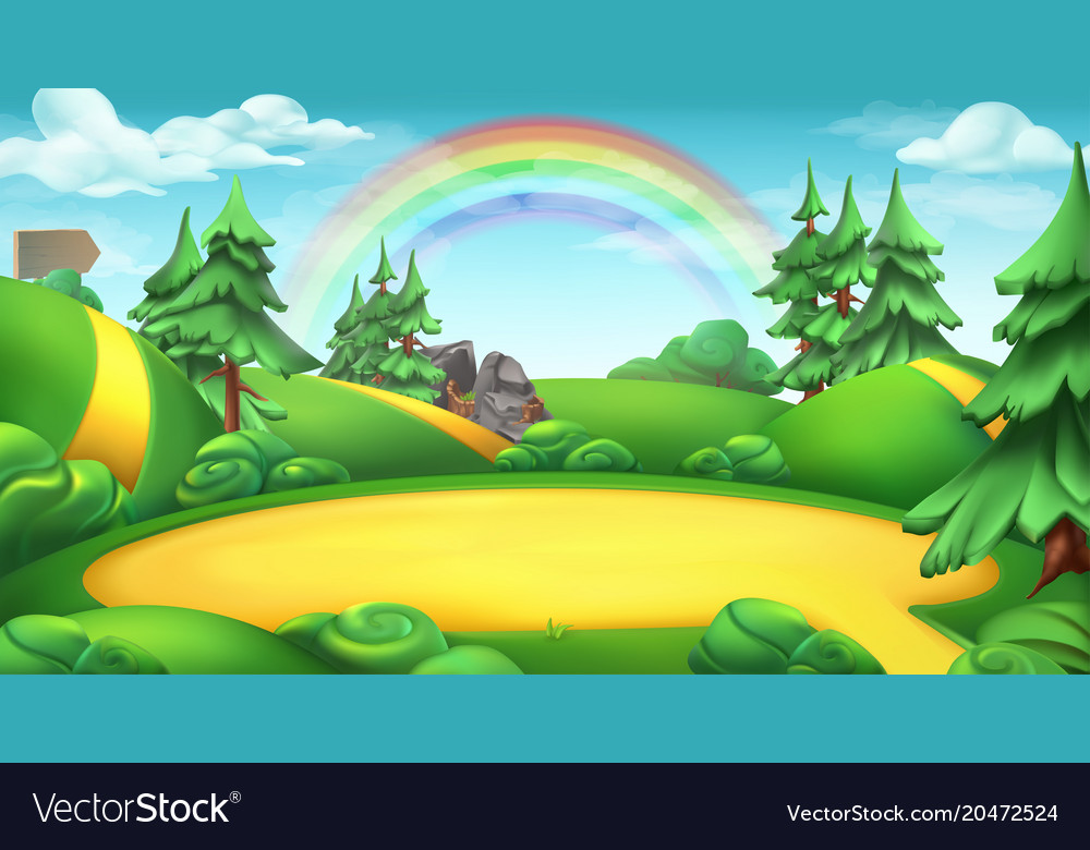 Glade in a forest nature landscape 3d background Vector Image