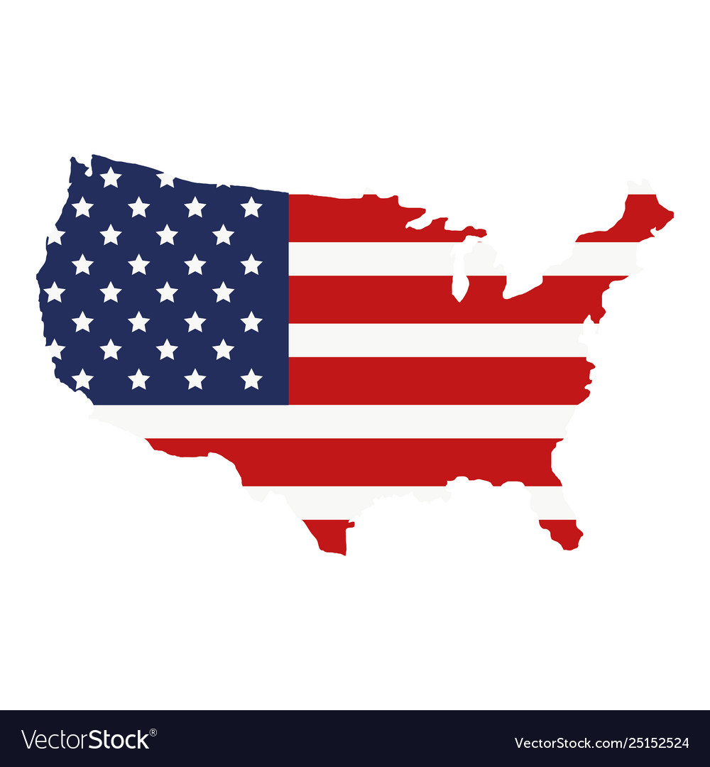 American Flag Us Map Map with united states america flag Royalty Free Vector