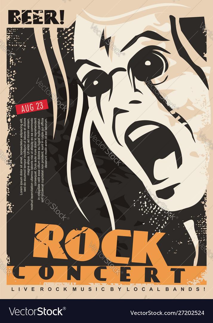 Rock concert poster design template with mad singe
