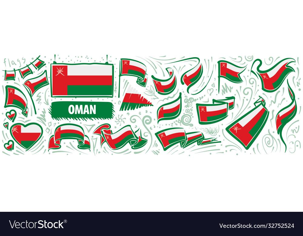 Set national flag oman in various