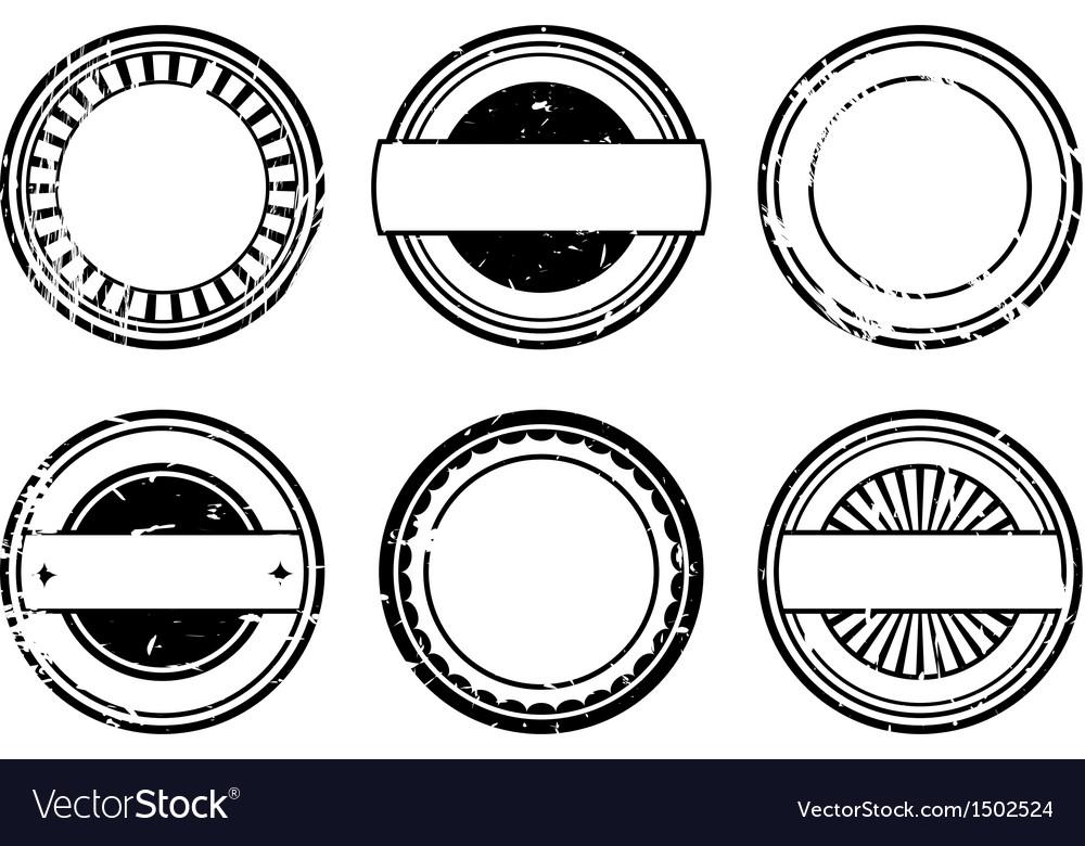 Set of blank black rubber stamps
