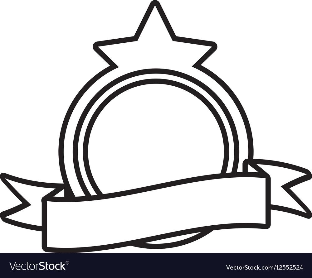Shield decorative star frame outline empty Vector Image