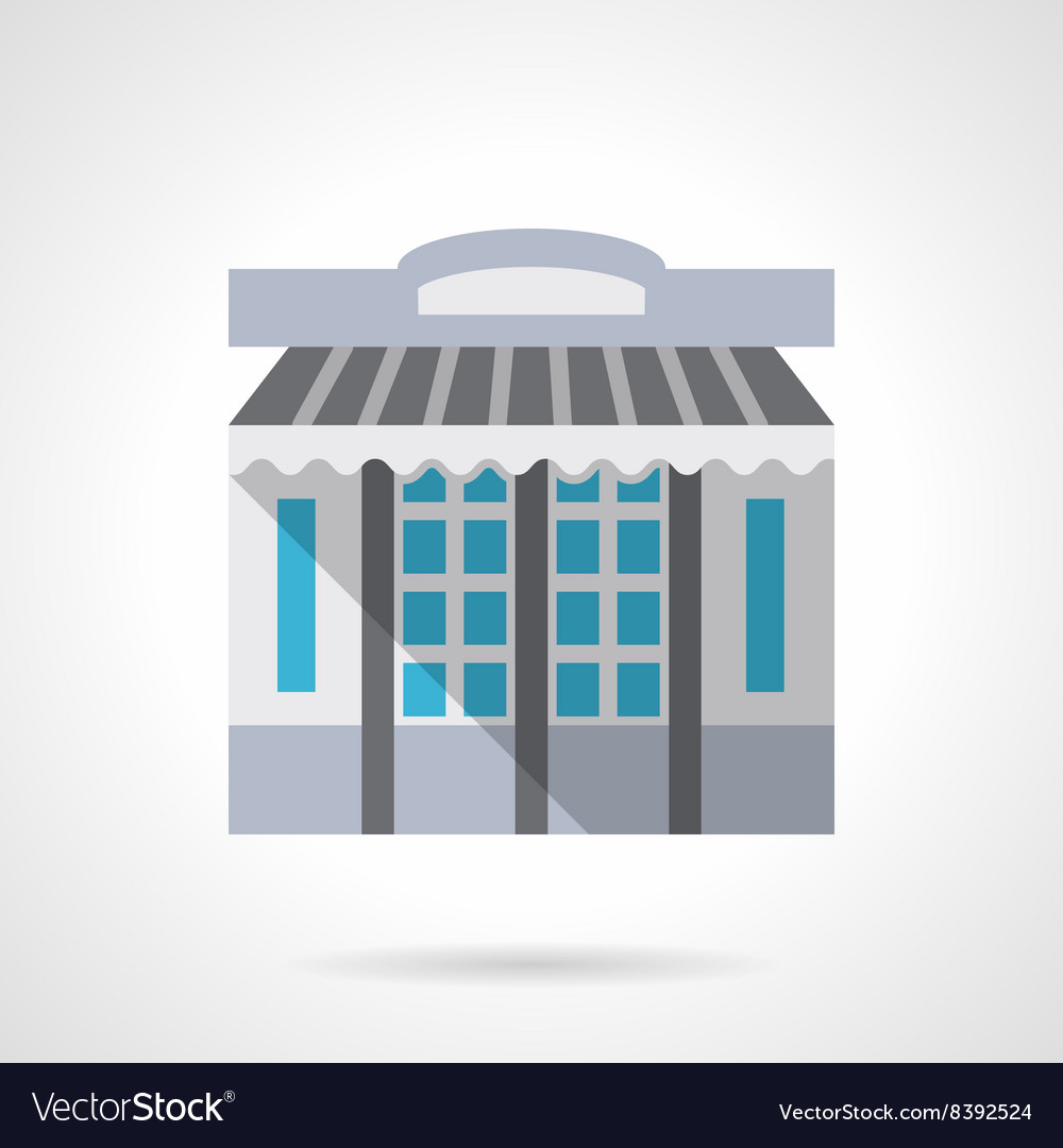 Stationery store facade flat color icon
