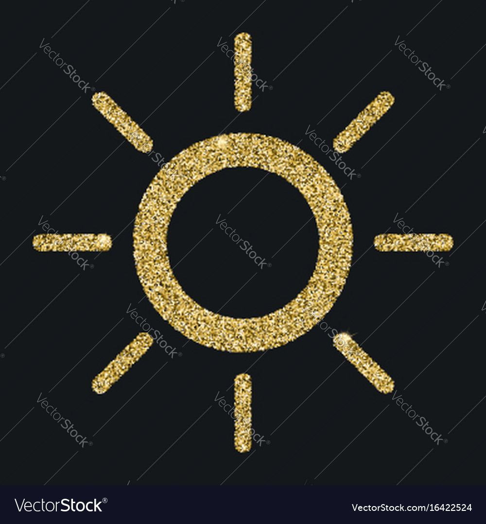 Sun icon with glitter effect isolated on black