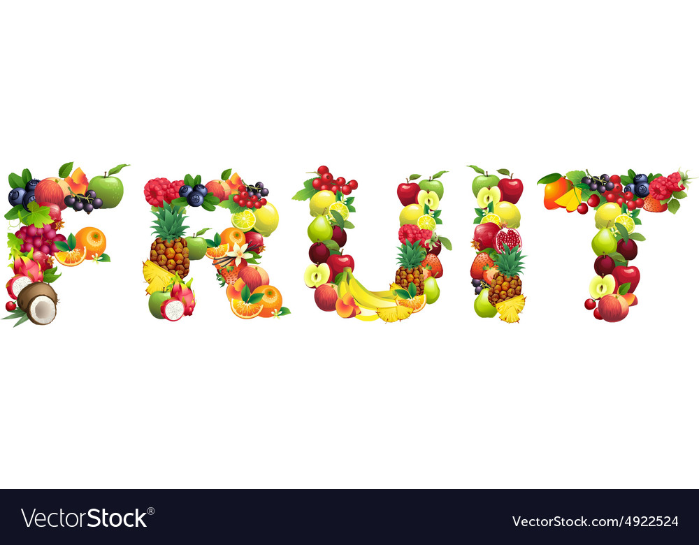 Word FRUIT composed of different fruits with