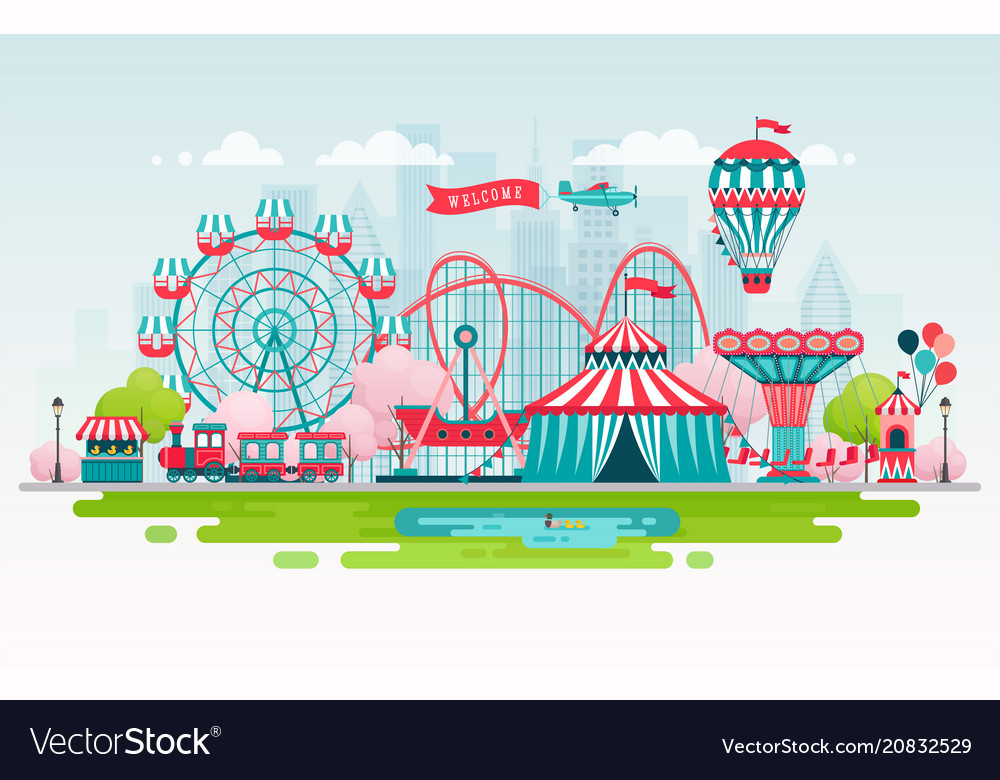 Amusement park urban landscape with carousels