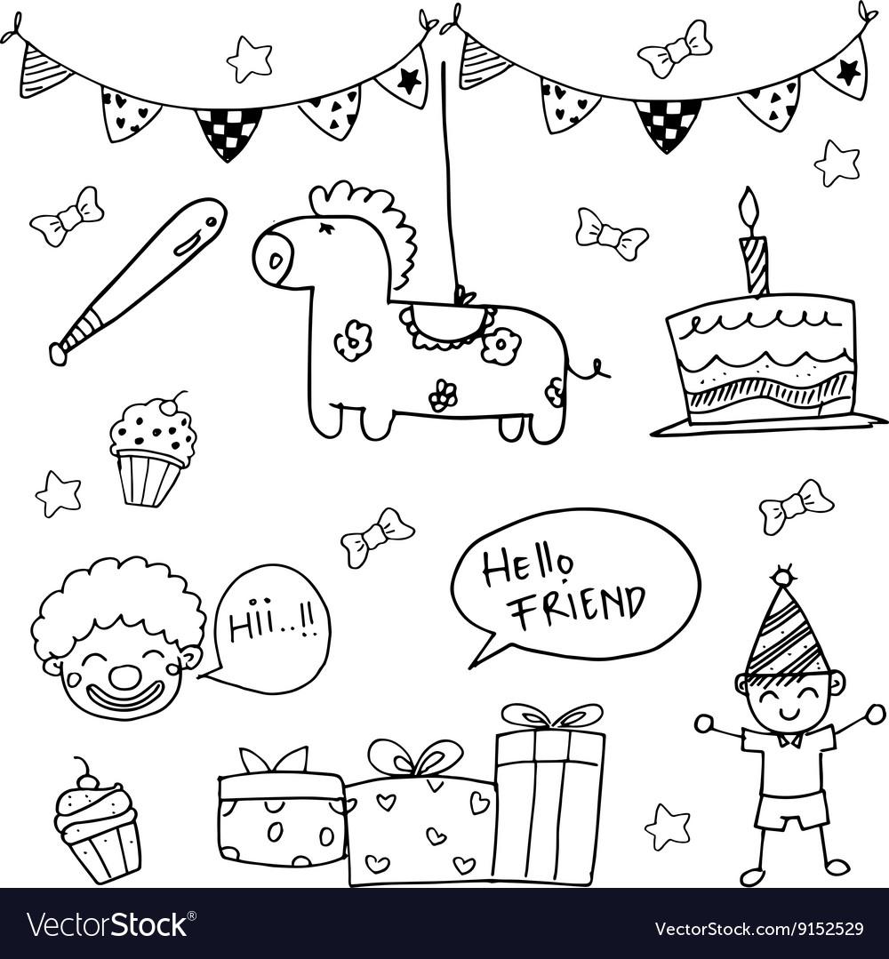 birthday doodles Birthday doodle art Royalty Free Vector Image   VectorStock birthday doodles