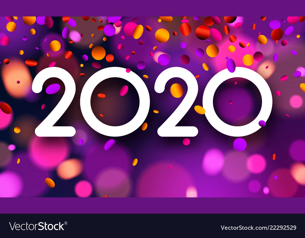 New Years Cards 2020 Bright blurred 2020 new year card with colorful Vector Image