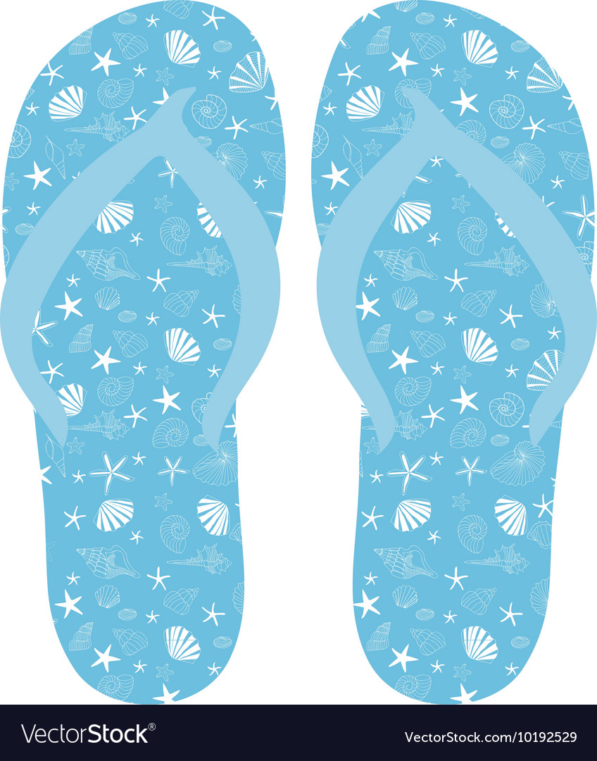 8a2f9f4c0 Flip flops Slippers with seashell pattern on blue Vector Image