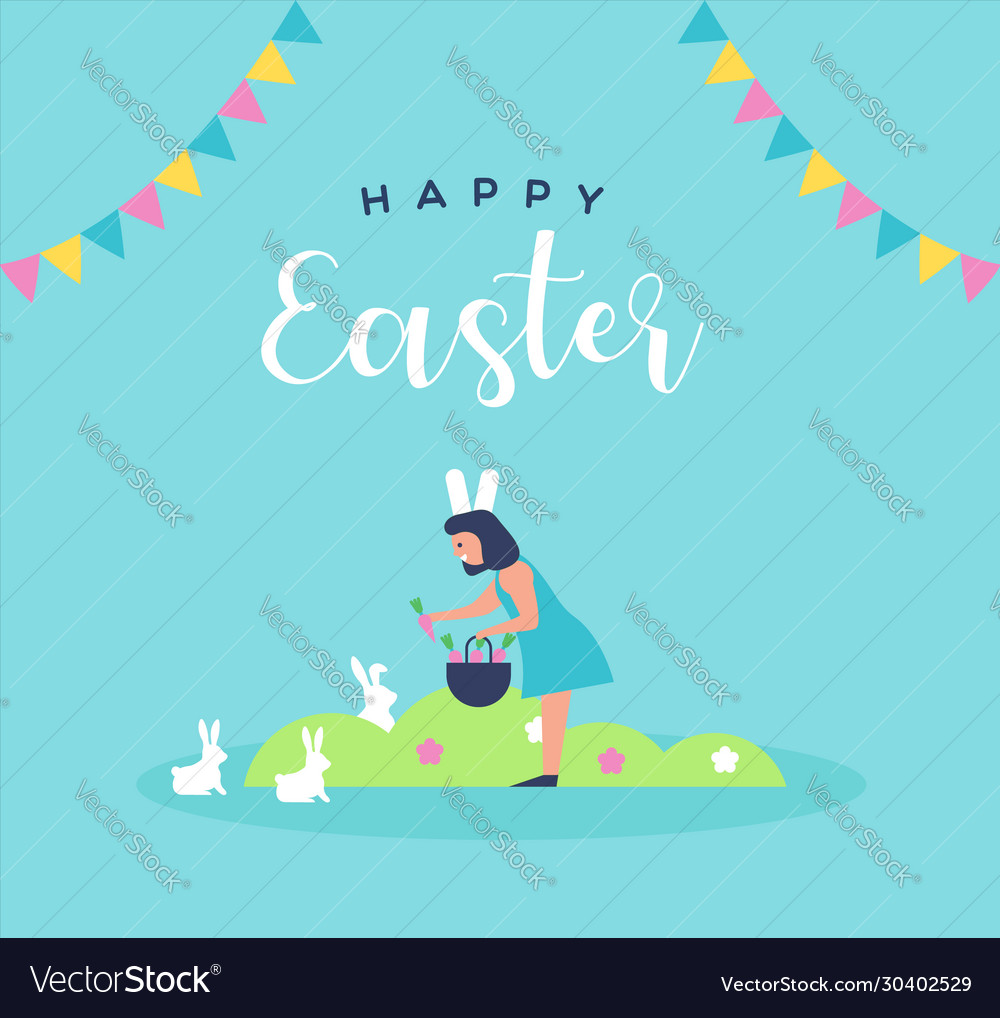 Happy easter card girl with spring rabbit