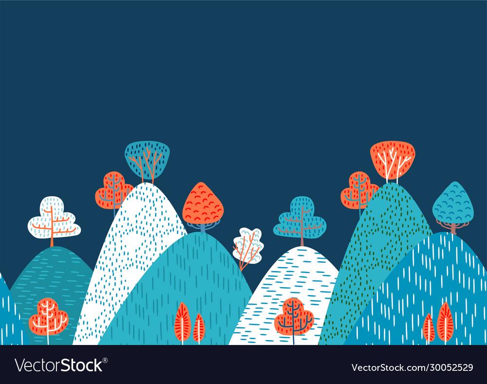 Horizontal seamless doodle background