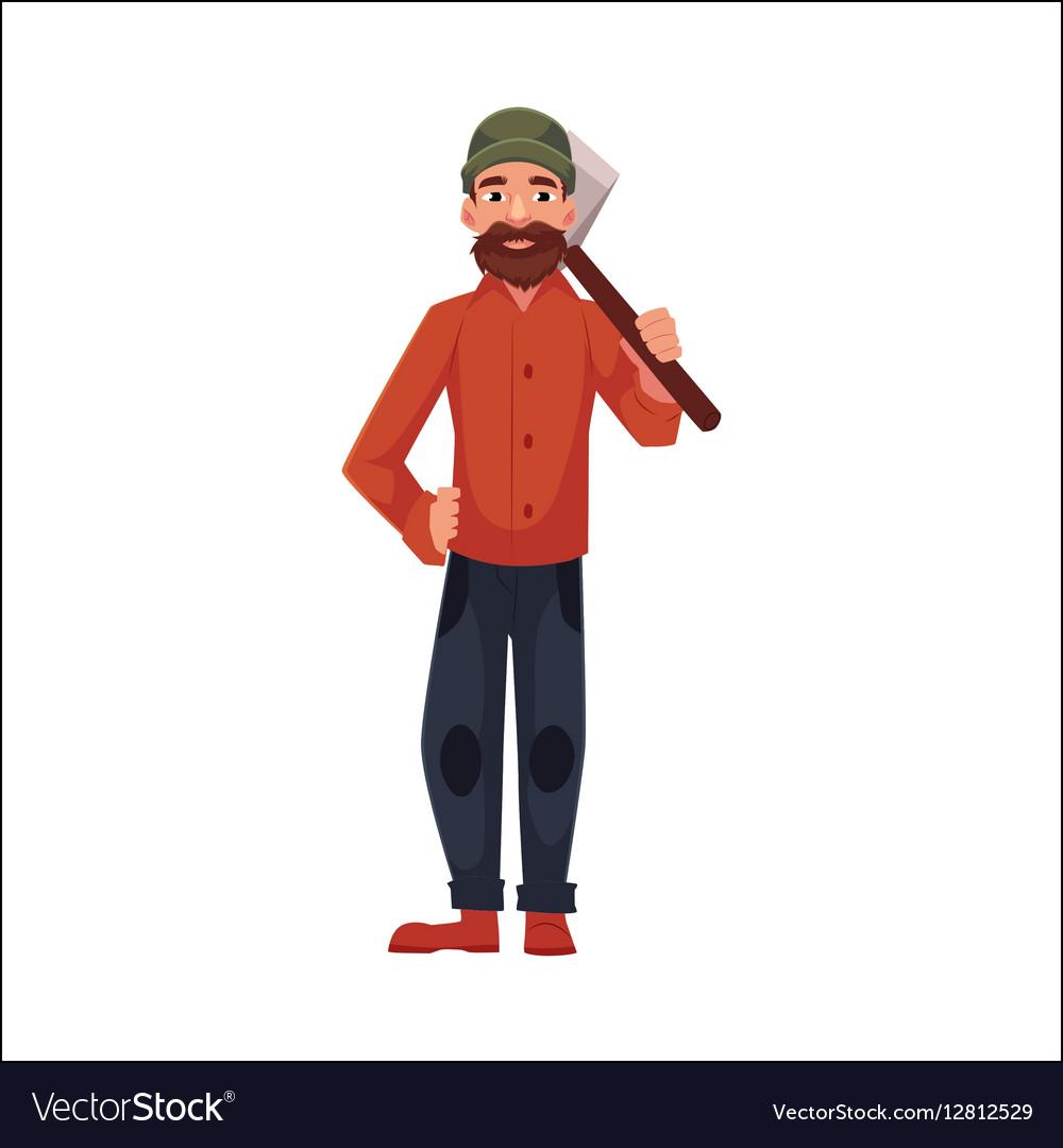 Lumberman lumberjack woodcutter standing and