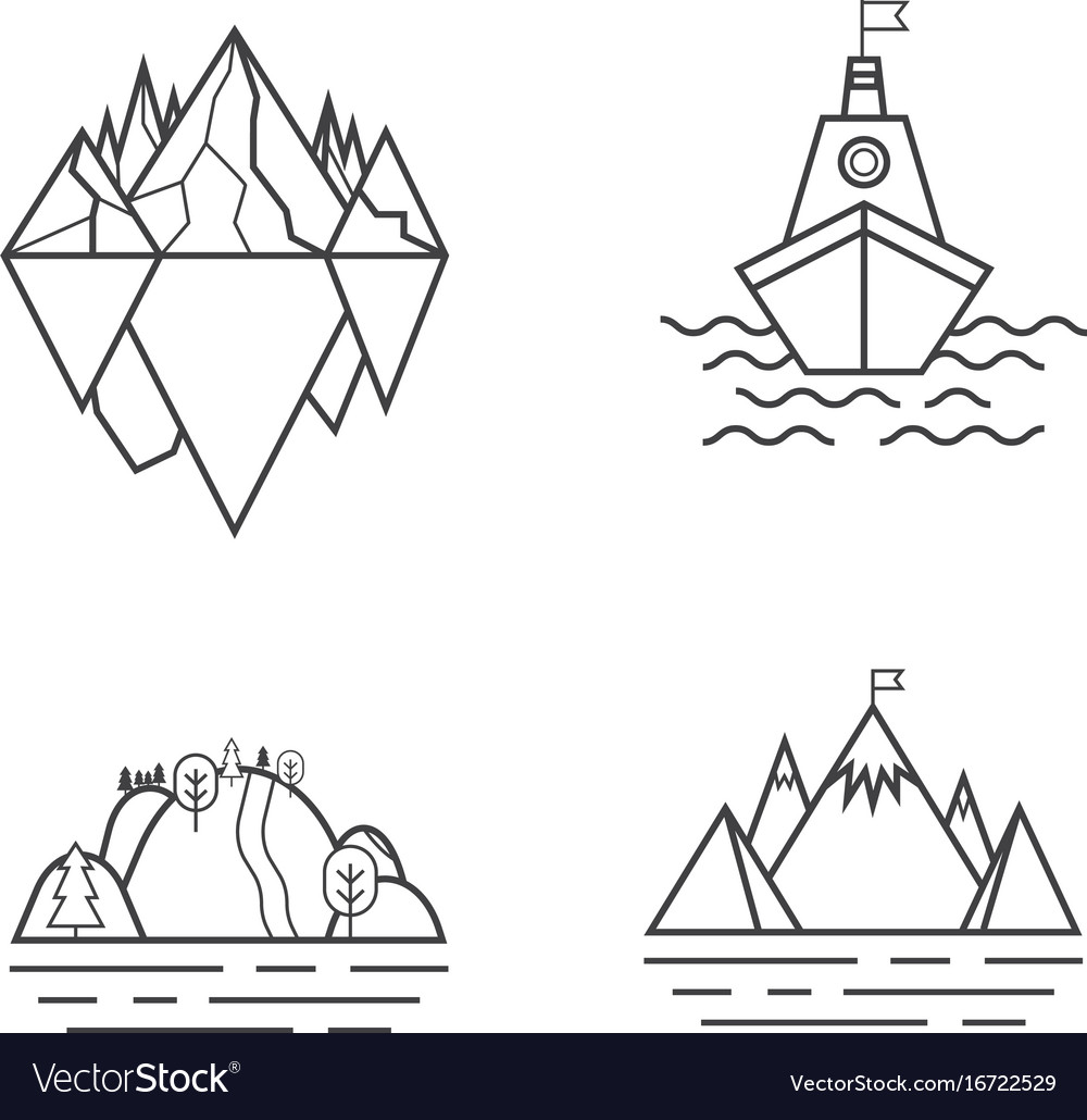 Set of mountain and outdoor adventures logo