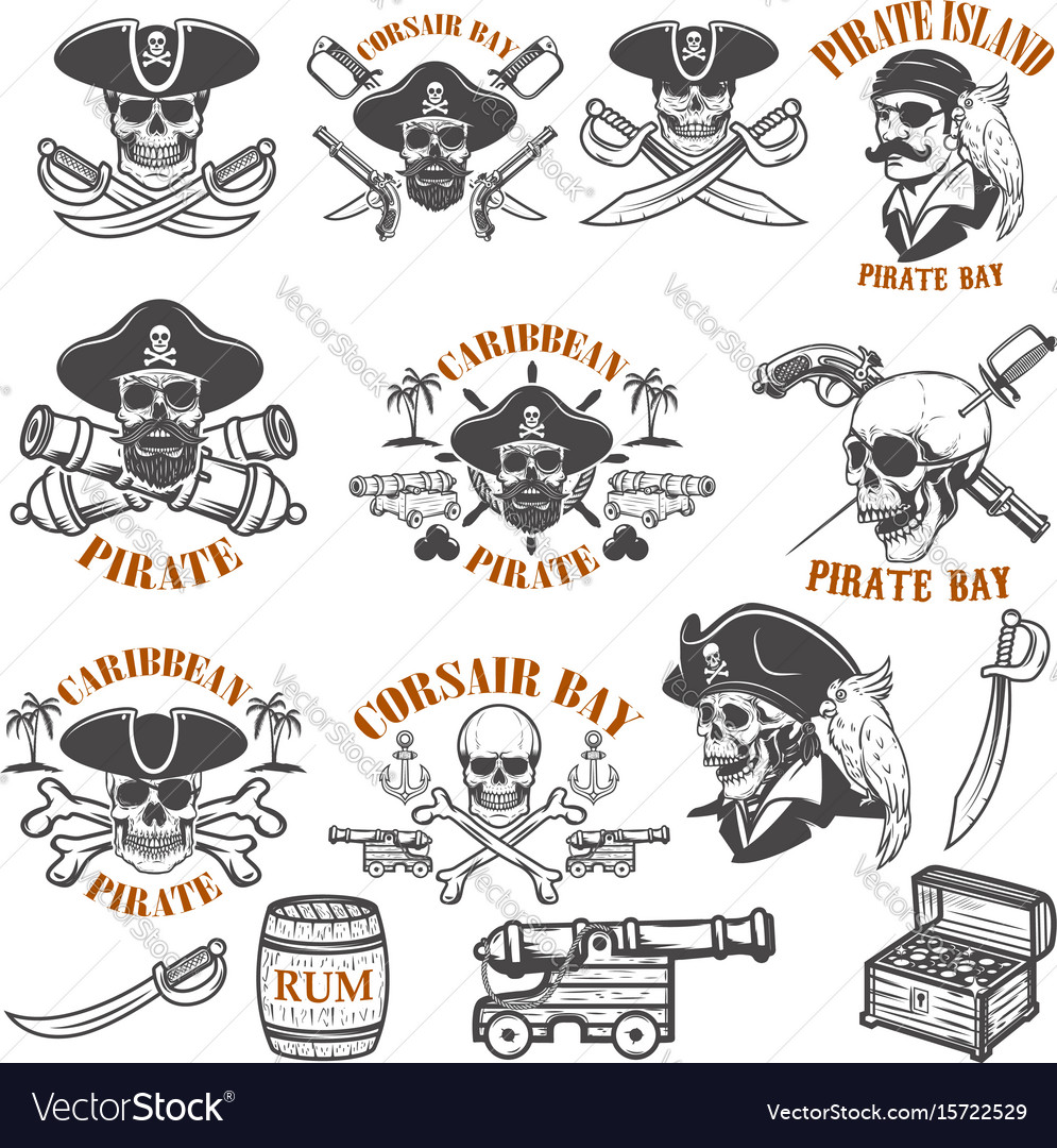 Set of pirate emblems isolated on white