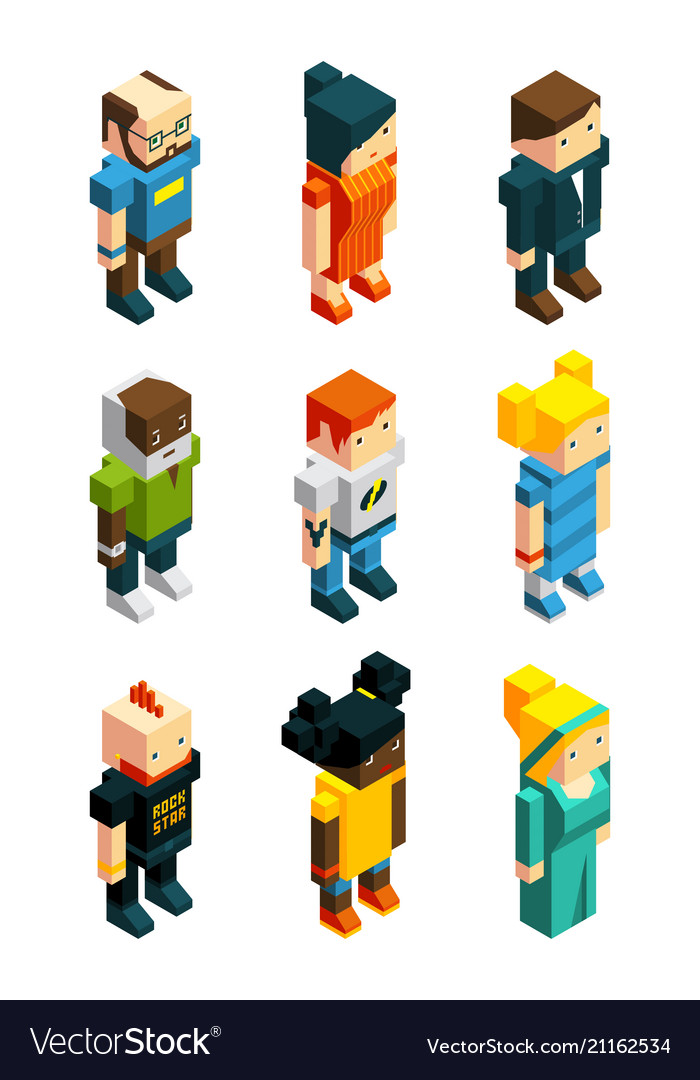 3d low poly peoples isometric user icons set