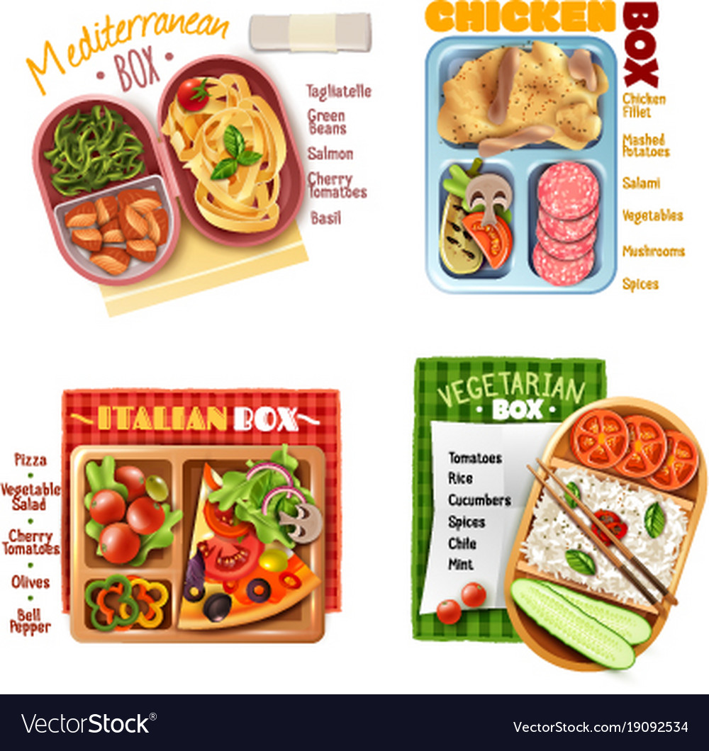 Boxed lunch design concept vector image
