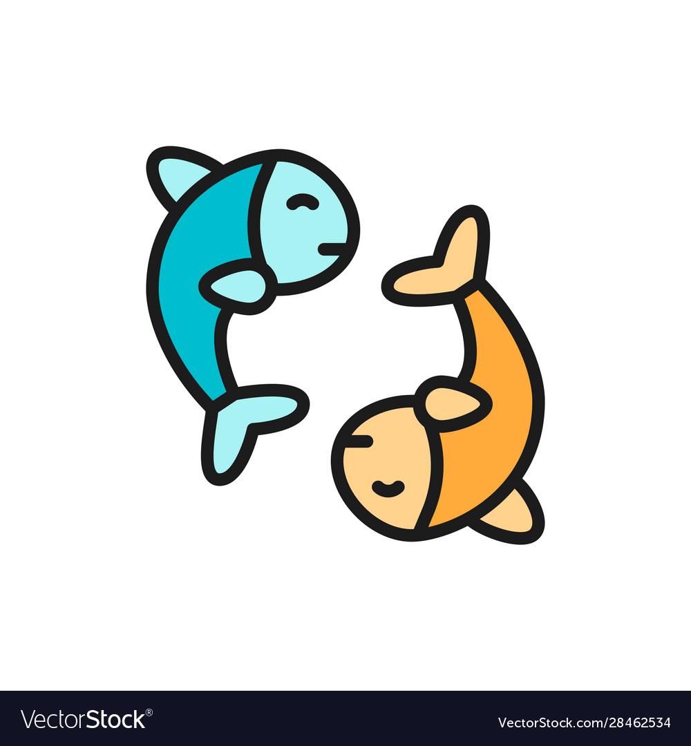 Chinese fish puffer fish koi fish flat color