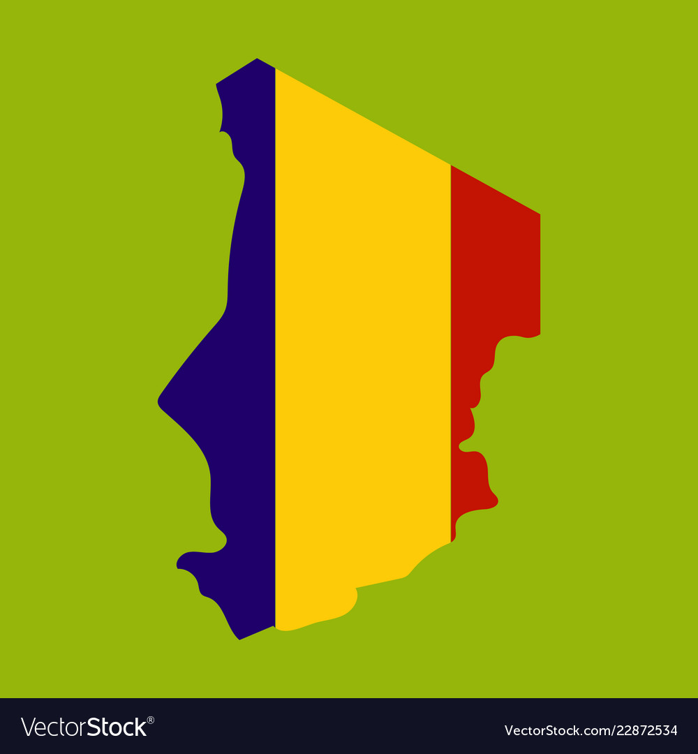 Detailed of a map of chad with flag eps10 Vector Image
