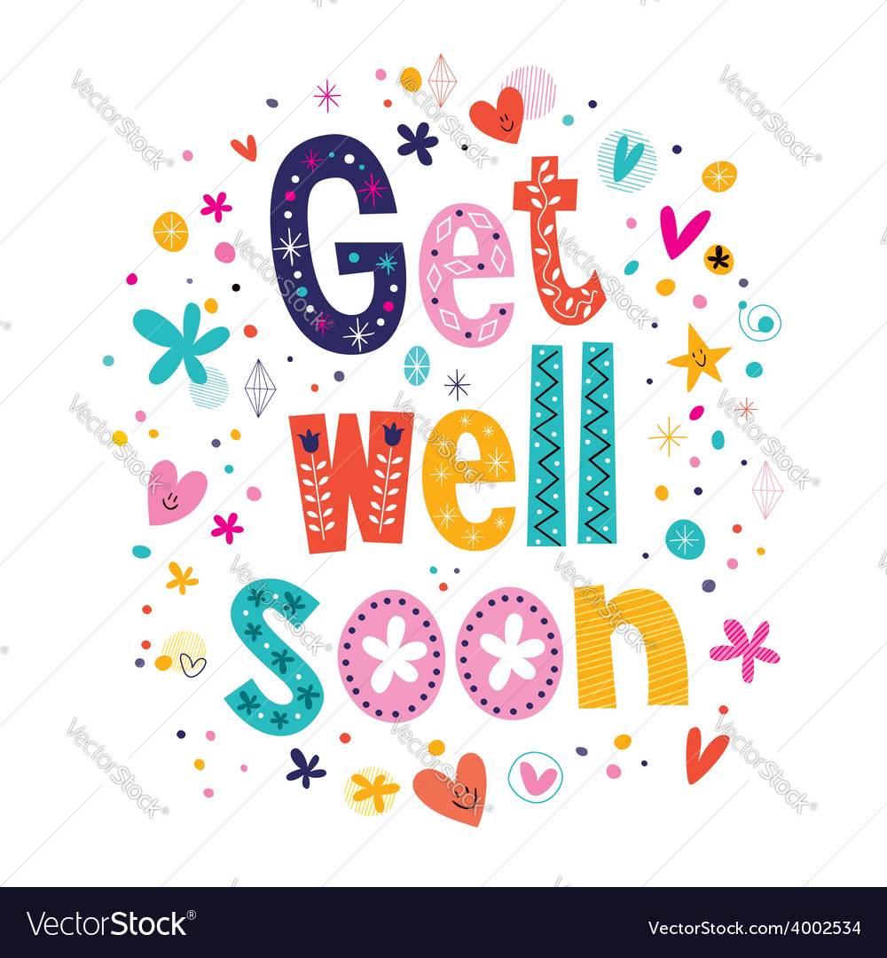 Get Well Soon Greeting Card 2 Royalty Free Vector Image