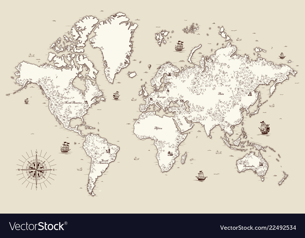 High Detailed Old World Map With Decorative Vector Image