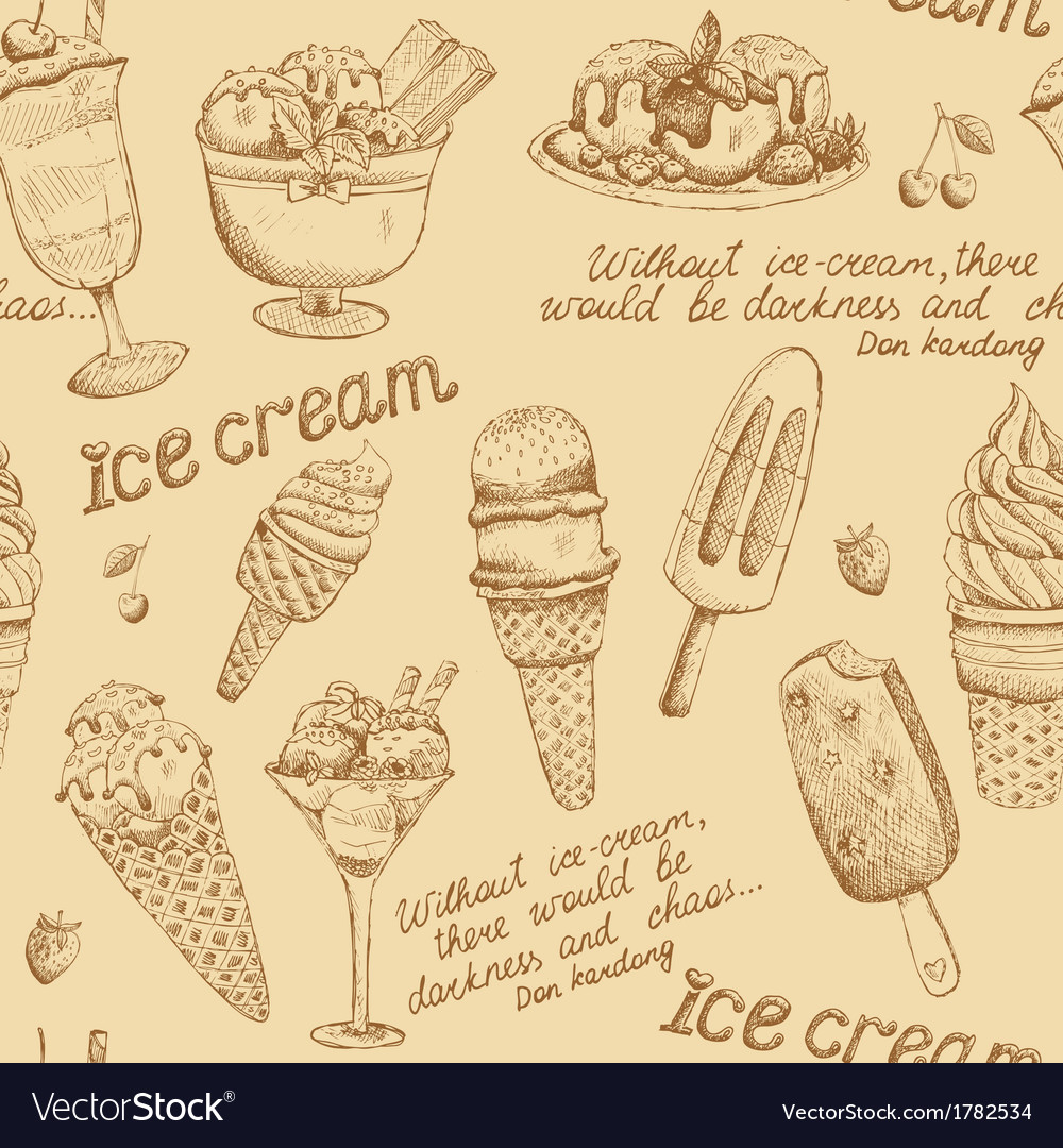 Ice cream vintage pattern vector image