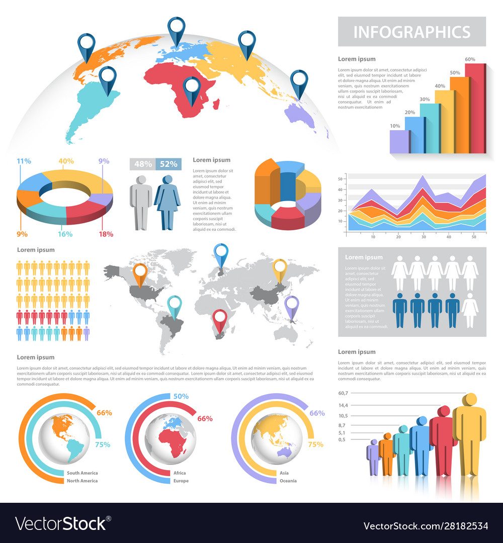 Pastel colors infographics set