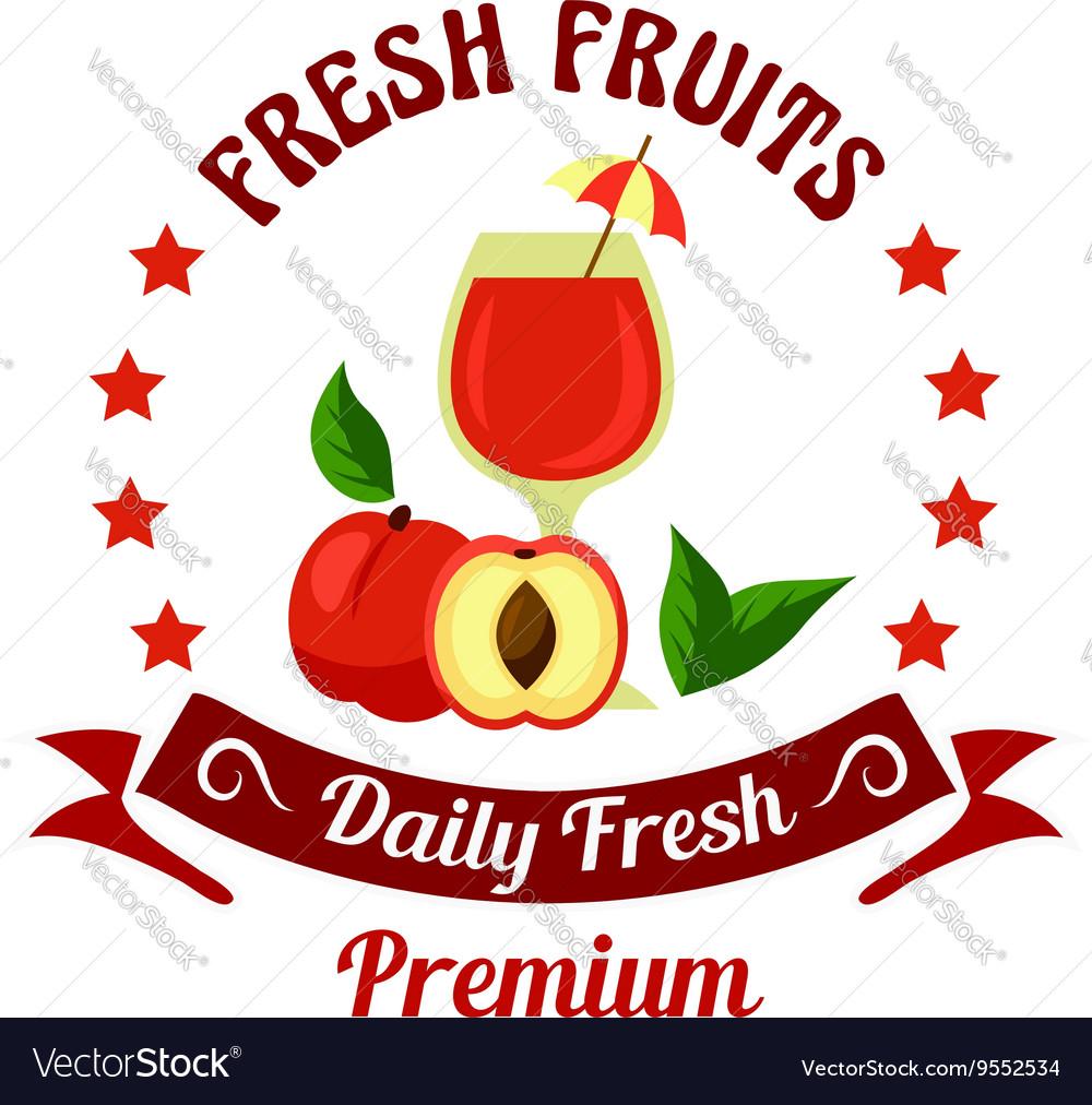 Peach fruit with juice icon for farm market design
