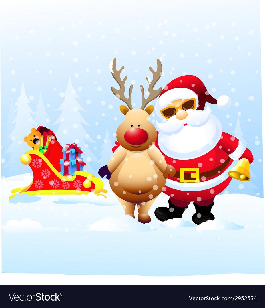 Santa and Rain Deer with Christmas Gifts