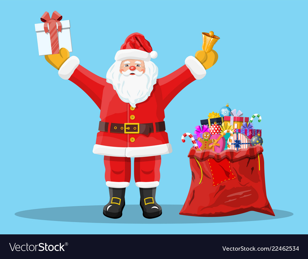 Santa claus with red bag with presents gift boxes