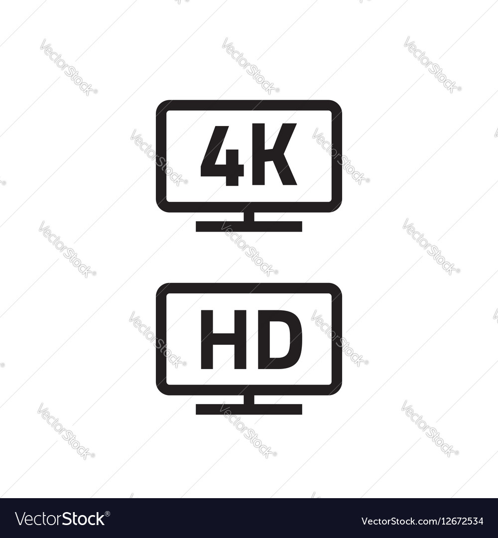 Ultra hdtv 4k full hd television icons line vector image