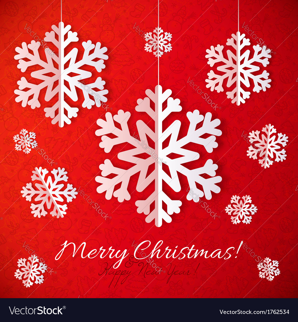 White paper snowflakes on red ornate background