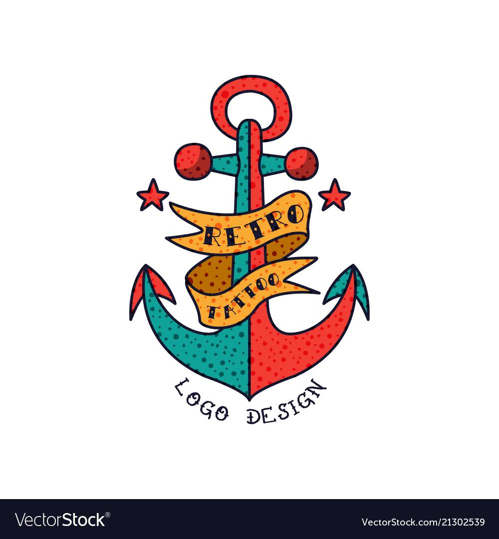 Anchor ribbon and words retro tattoo logo design