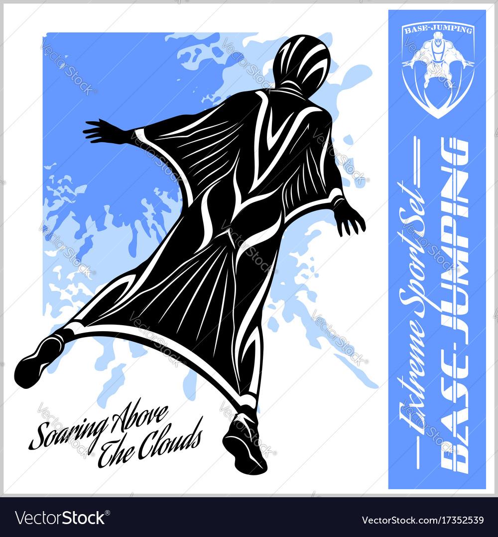 Base-jumping - wingsuit flying sport set vector image