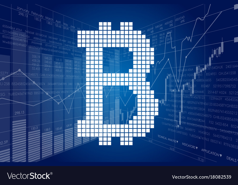 Block chain and stock charts vector image on VectorStock