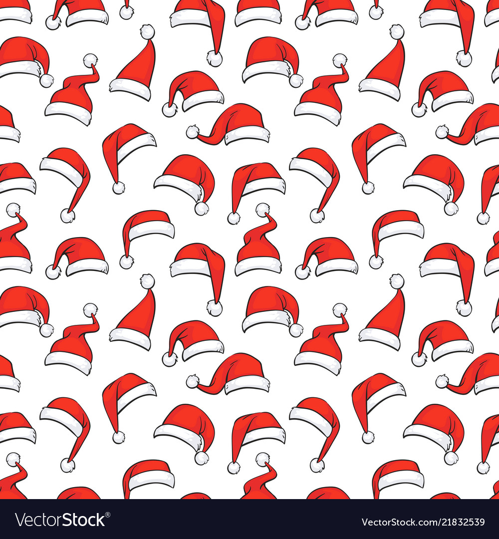 Christmas seamless pattern with hand drawn red