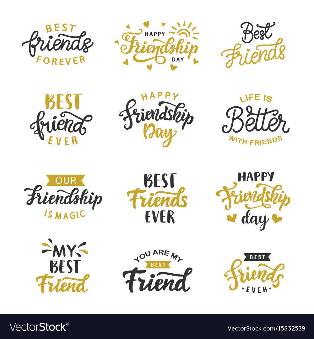 Happy friendship day cute lettering big set