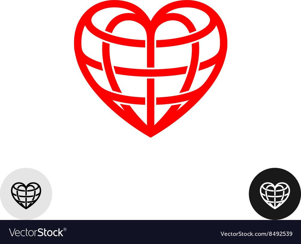 Heart earth globe shape linear weaved logo