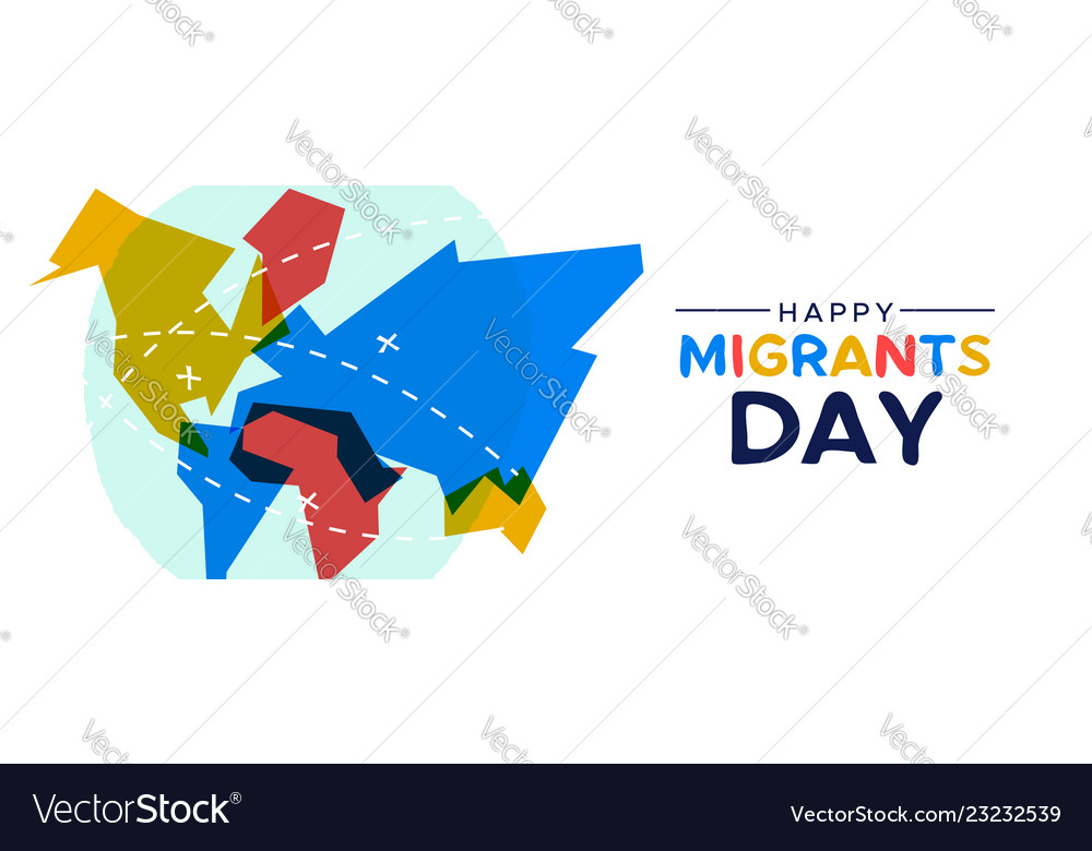 Migrant day world map card for immigration concept on