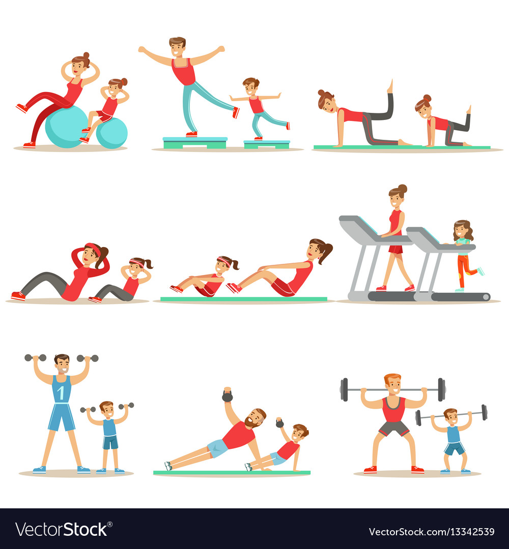 Parent and child doing sportive exercises and