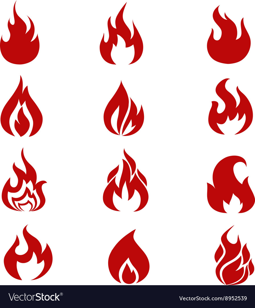 Red fire flames symbols icons set