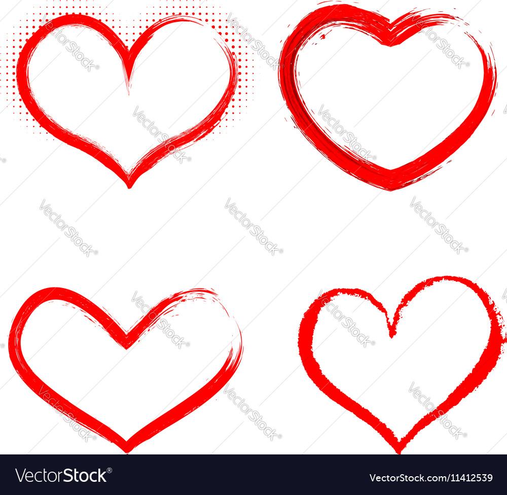 Set of hand drawn hearts Happy Valentines vector image