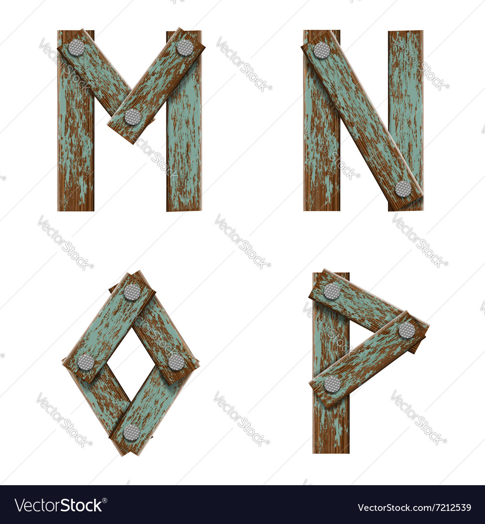 Set of letters from boards with nails