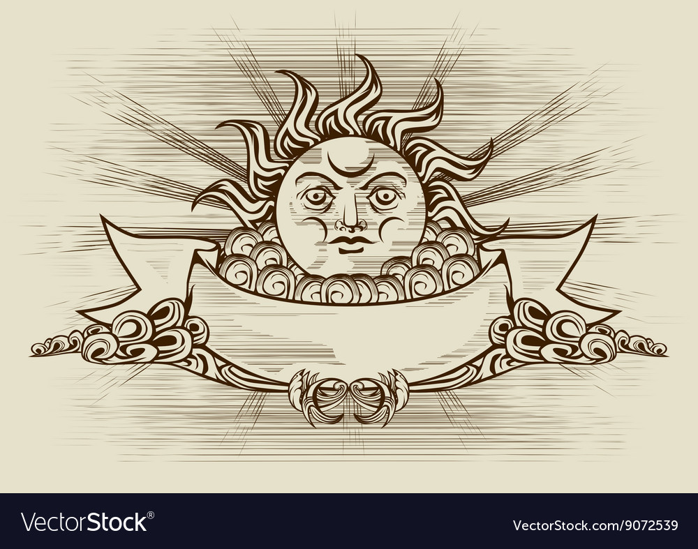 Vintage banner with face of the sun