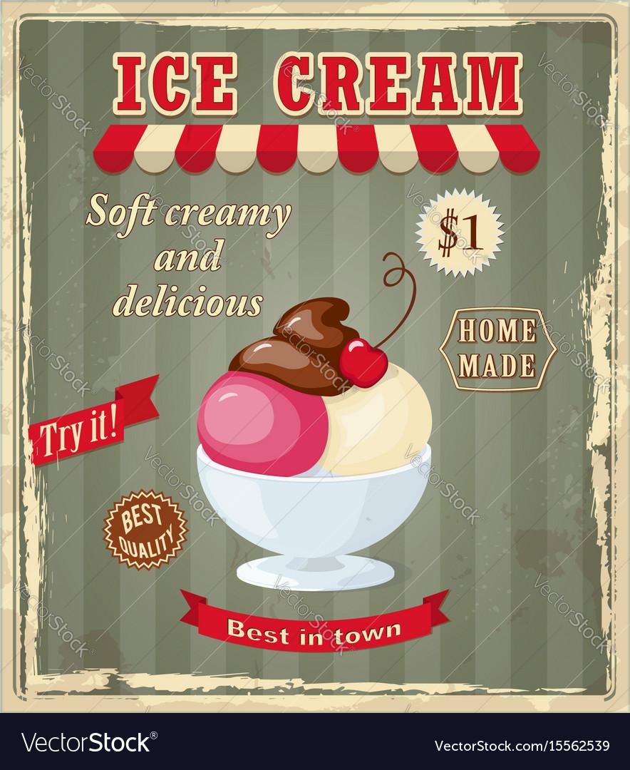 Vintage banner with scoop cherry ice cream vector image