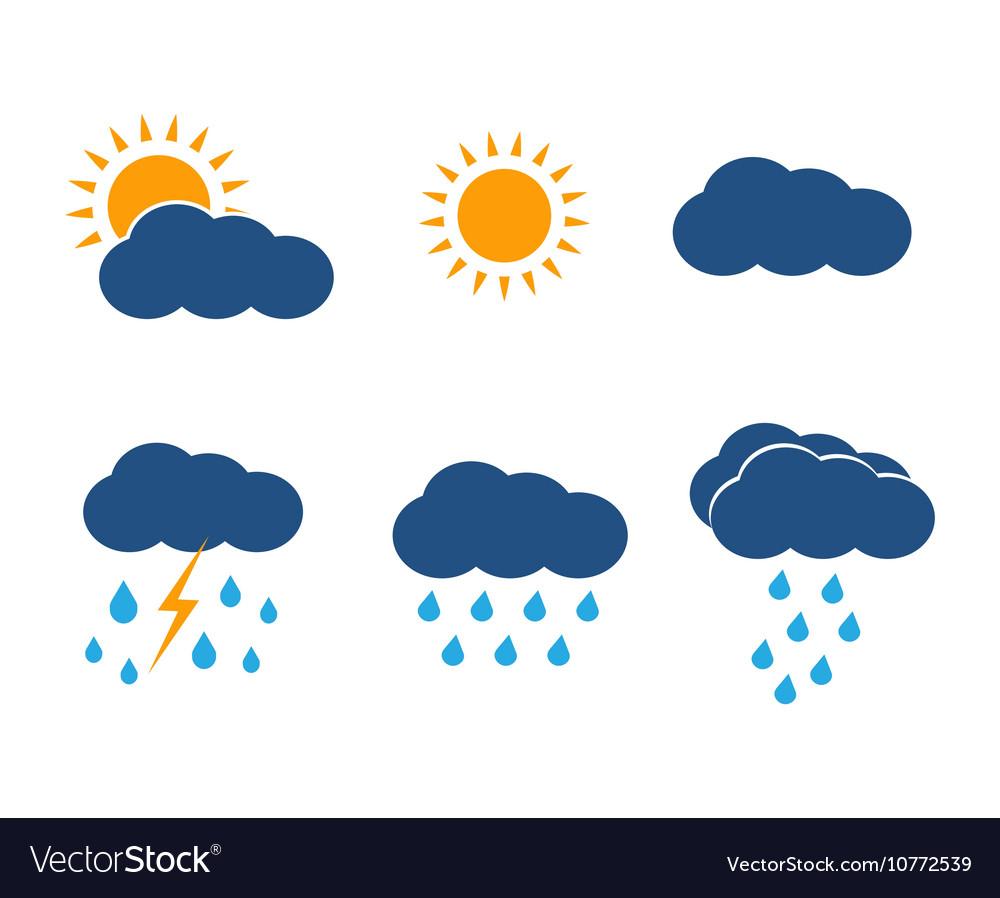 Weather icons set Sun clouds rain vector image