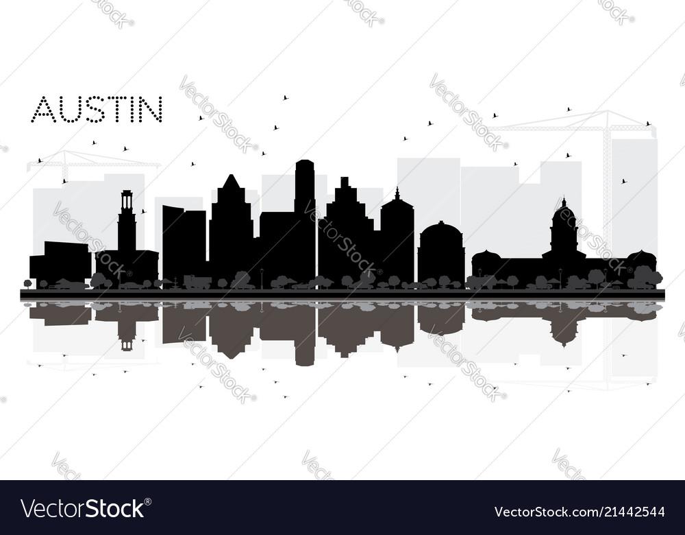 Austin texas city skyline black and white