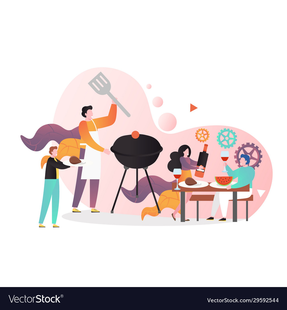 Bbq party concept for web banner website