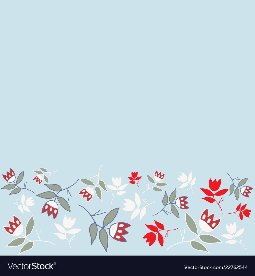 Blue winter folk florals seamless border pattern